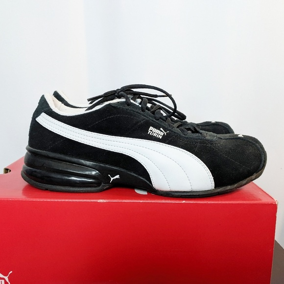 hot sale online a0bb7 9d3b1 Puma Cell Turin Suede Black & White Shoes